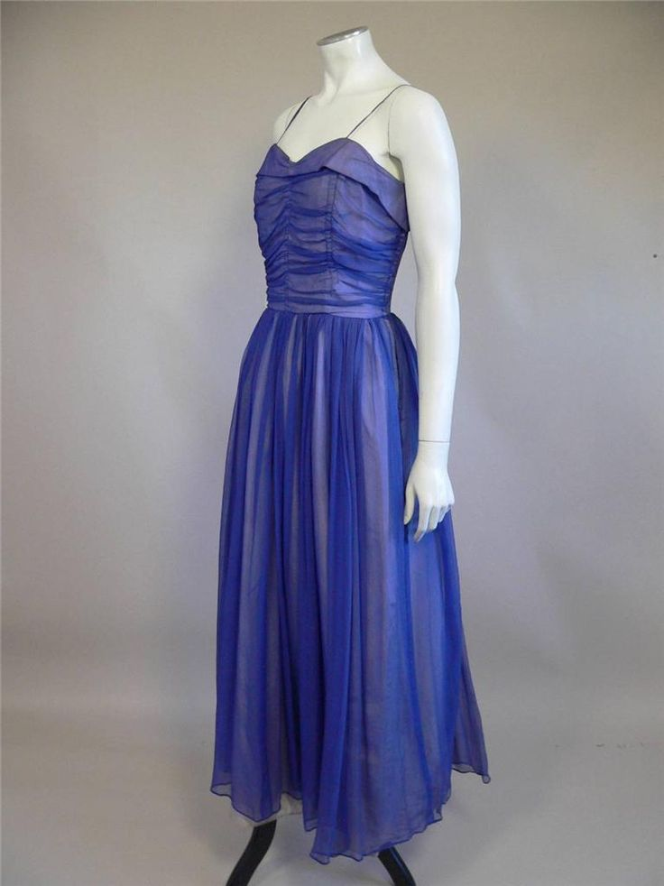 Gorgeous late 1940s silk chiffon evening dress by Roecliff & Chapman - UK 8 | eBay