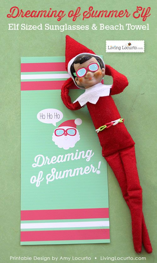 Cute Elf on the Shelf Sunglasses and Santa Beach Towel. Exclusive Printable design by LivingLocurto.com