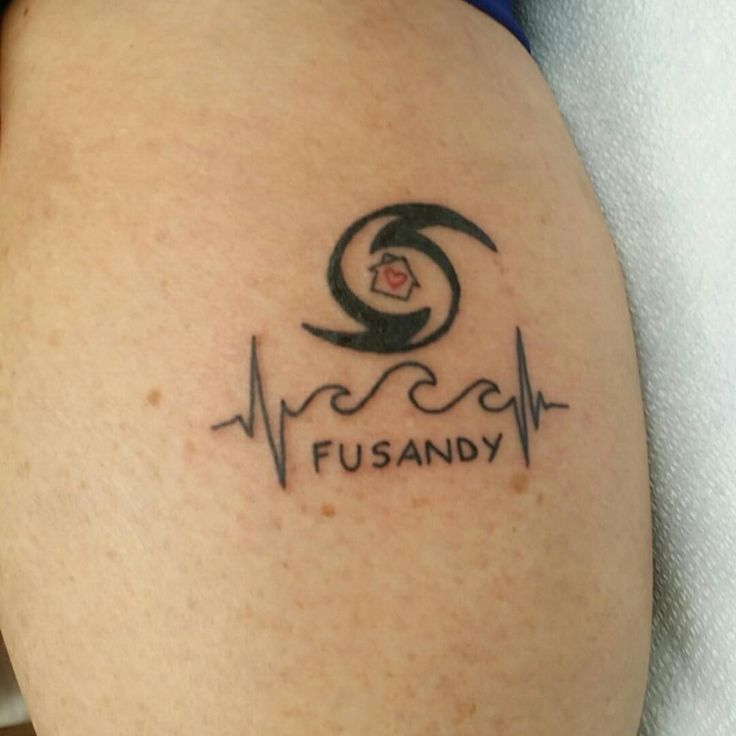 Hurricane symbol with home wave heartbeat tattoo. #hurricanesandy #fusandy #tattoo