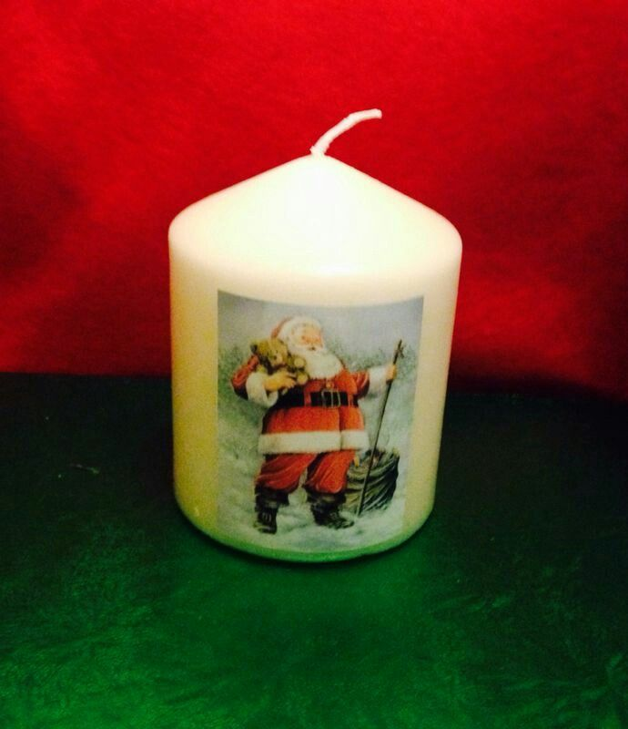 Santa and Teddy candle