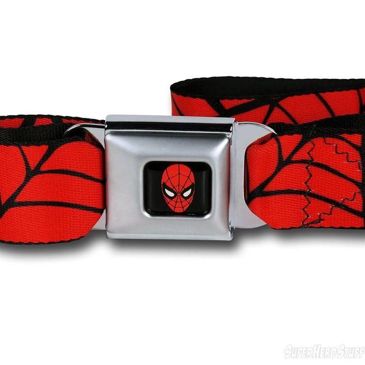 Spiderman Webs on Red Seatbelt Belt - Buckle Detail