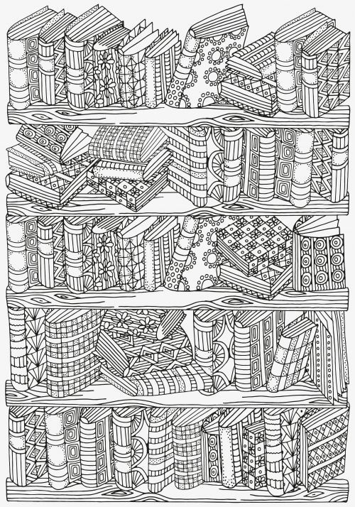 Adult Coloring Pages: Bookshelves