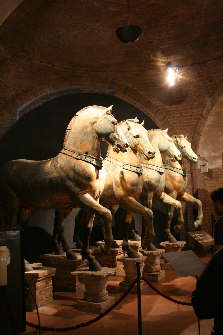 The Horses of St. Mark were installed on the basilica in about 1254. The horses were long displayed at the Hippodrome of Constantinople, and in 1204 Doge Enrico Dandolo (cruel man but great politician) sent them back to Venice as part of the loot sacked from Constantinople in the Fourth Crusade. They were taken to Paris by Napoleon in 1797 but returned to Venice in 1815.   These are the originals inside the Basilica. The horses outside on the balcony are bronze replicas.  | chapter 71