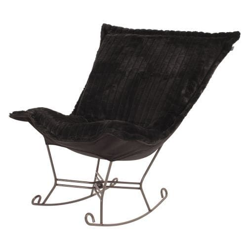 Howard Elliott Mink Scroll Puff Rocker with Titanium Frame 40 Tall Acrylic and Polyester Upholstered Rocking Chair with (