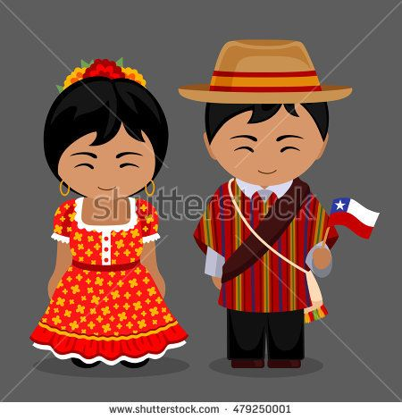 Chileans in national dress with a flag. Man and woman in traditional costume. Travel to Chile. People. Vector flat illustration.