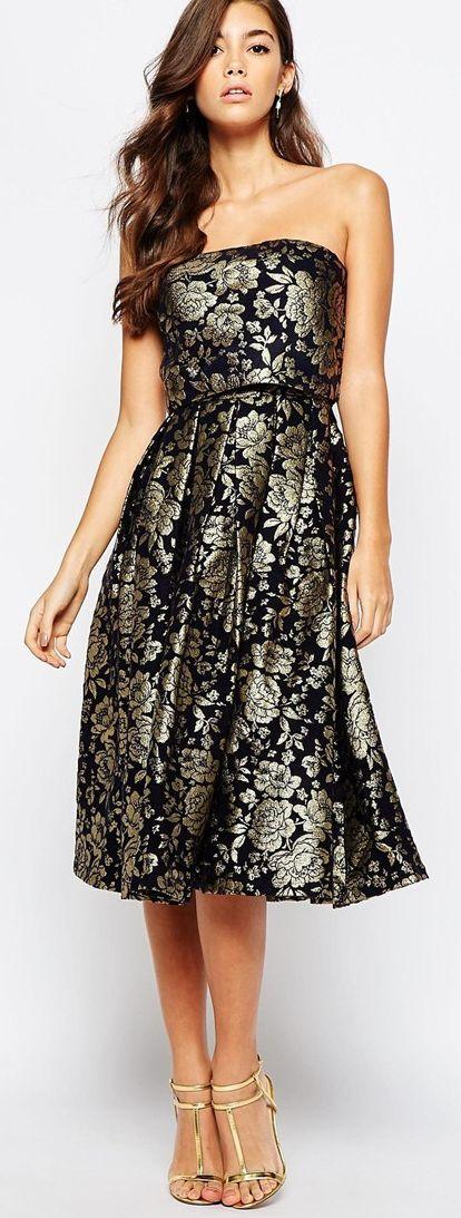 Popular Metallice Jacquard dress by Chi Chi London Black Gold WeddingsJacquard