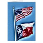 United States & Texas Flags Greeting Card