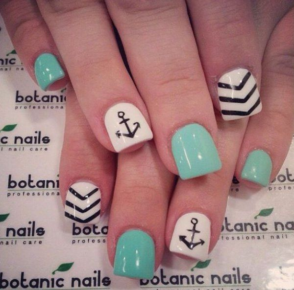 Another win for the short square nails! This is a cute and quirky nail art design that cute lovers will adore. The nails are coated with sea green and white matte and topped with black details