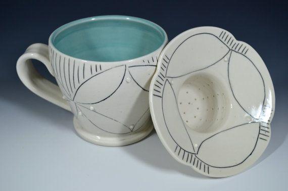 Wheel thrown mug/tea strainer set American Quilt pattern