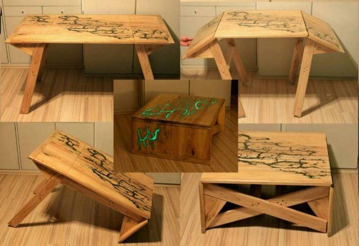 Ich biete einen exklusiven Designer Tisch Transformer an. Nur 2 einfache Bewegungen und Sie...,Couchtisch to Esstisch Trasformer Unikat Blitzmotiv Leuchtend in München - Schwabing-West