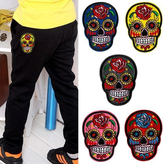 Mimgo Store Embroidered Cloth Sugar Candy Skull Flower Iron-On Patch Sew Motif Applique DIY Craft -- More info could be found at the image url.