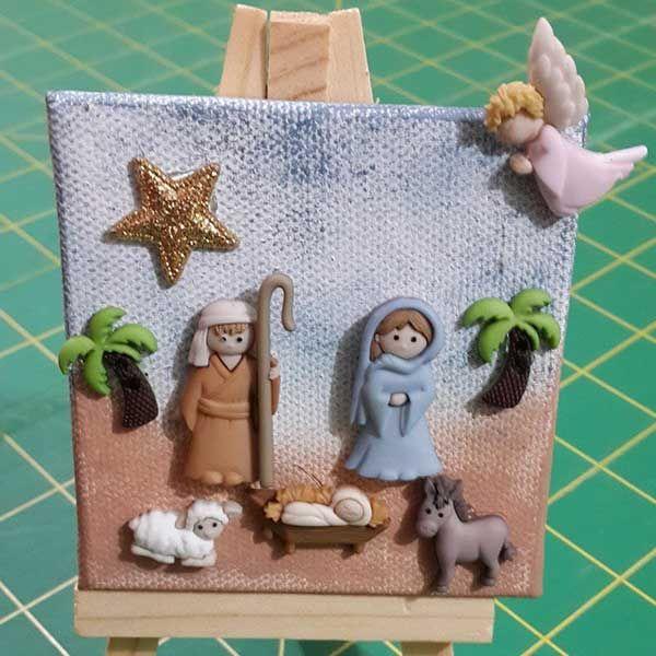 Caballete y Lienzo en miniatura con botones navideños de Belén