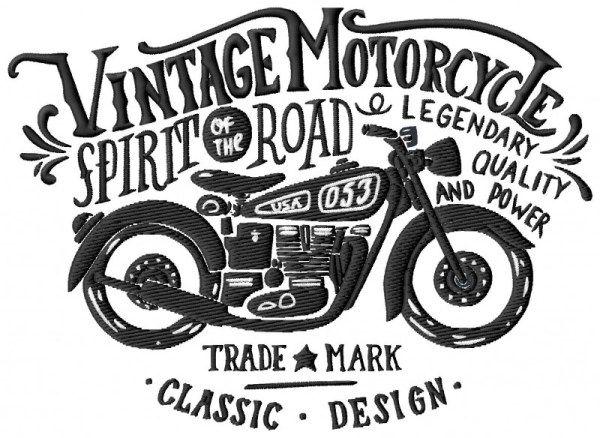 Vintage Biker Embroidery Design Vintage Motorcycle Art Retro Bike Illustration Motorcycle Illustration