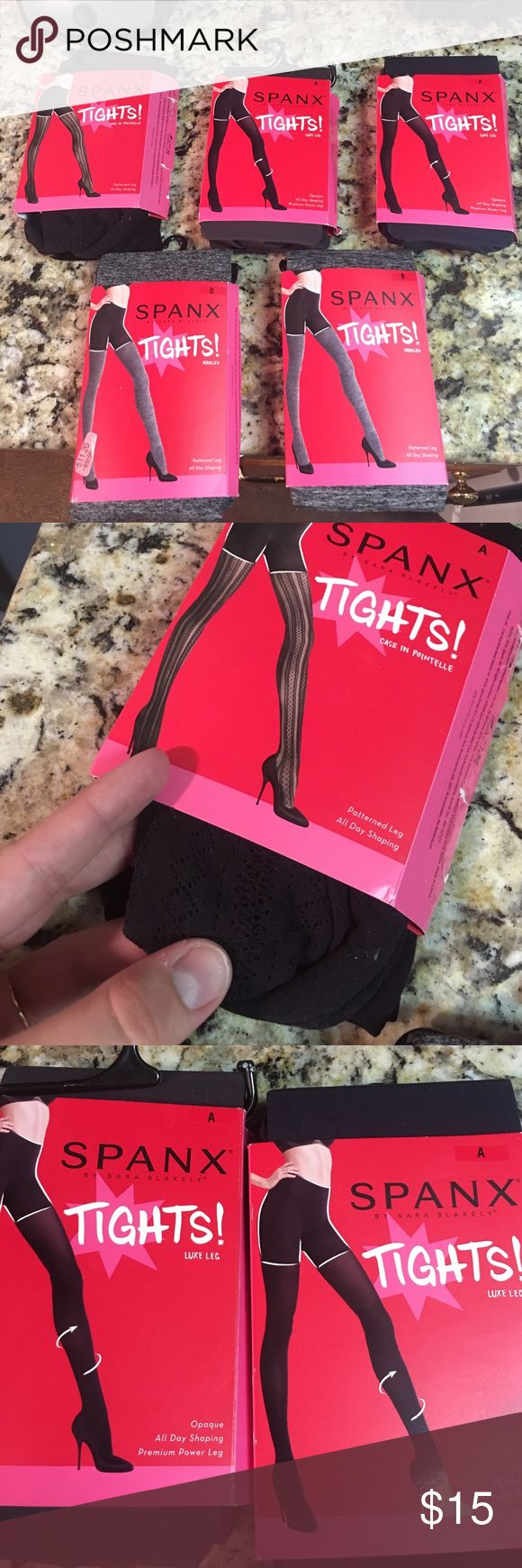 Women's spanx tights They are all new in the packaging. I have one black size A, two dark gray opaque size A, one striated gray size B, and one striated gray size D. Please comment which one you like and I will create you a separate listing. Please do not buy this listing I don't want to have to relist every time someone buys. Thanks for understanding SPANX Pants Leggings