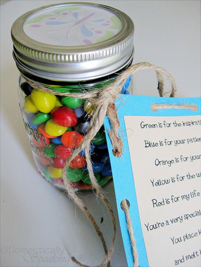 M & M Teacher Gift with Poem - Perfect for Church/Sunday School teachers!