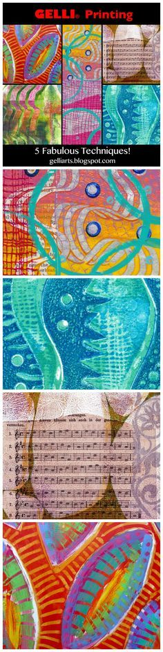 5 Videos! 5 Tutorials for Gelli Printing! If you're looking to expand your base of techniques, learn some new fun exercises in Gelli printing, or refresh your memory on various processes, take a look at the following videos!
