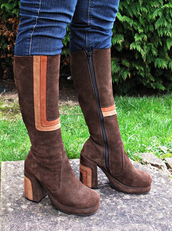 1970s Style Suede Platform Boots. UK Size 7 by RAW. on Etsy, $151.98