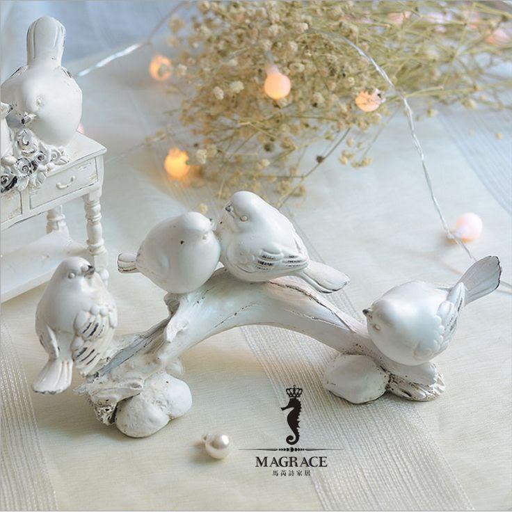 Ретро кантри чистый стул Товары для птиц стол украшения дома Изделия из смолы Украшение стола для свадьбы День рождения сад девушка подарок