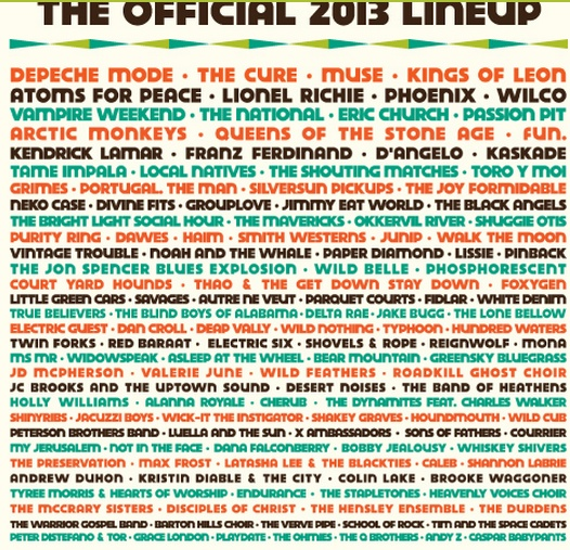 ACL 2013 Full Lineup. Already have the tickets!