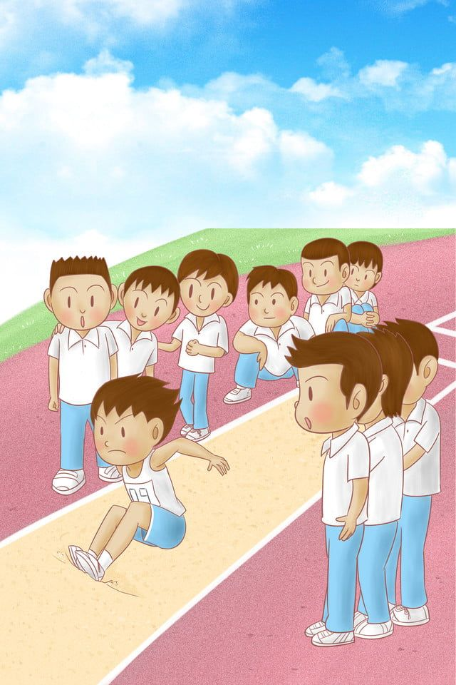 Autumn Student Games Long Jump Competition Campus Playground Student Games Long Jump Chibi Characters