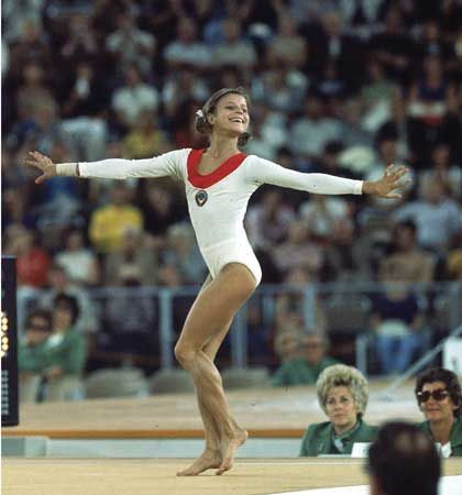 Russian gymnast Olga Korbut, 1972 Olympics. I loved watching her and her smile.