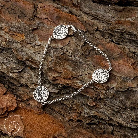 Phaistos Disc Sterling Silver Bracelet Greek by CircleOfLifeGreece