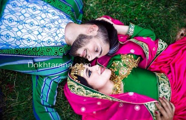 #afghan #national #cloths #chapan #pink #green #dress #jewelry #gold #couple #wedding #nekah #henna #love