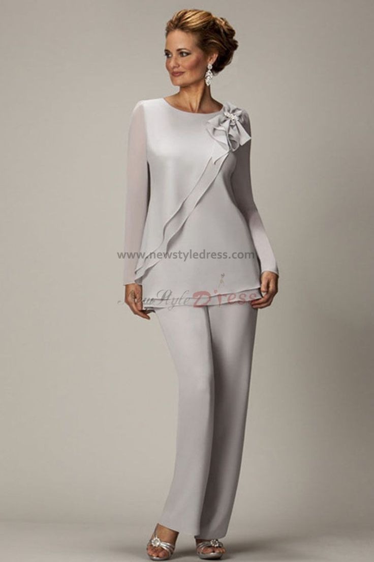Long Sleeves off-white Two piece Chiffon mother of the bride pants suits nmo-020