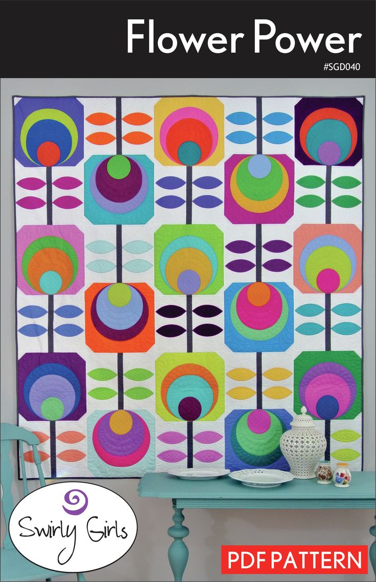 """This modern geometric design is great for solids or your favorite fabric collection. Simple machine applique makes this project come to life.60"""" x 66""""Recommended supplies: HeatnBond FeatherLite, Creative Grids Circle Savvy Ruler (Templates also included).THIS IS A PDF DOWNLOAD.When you purchase a digital pattern, you'll be able to download the pattern the moment you check out. The link will appear on your order confirmation page."""