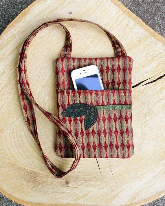 Handmade Fabric Bag Crossbody Bag Leaf Appliques by sandybode, $28.00