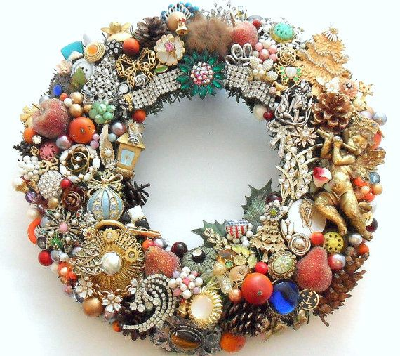 Shabby Chic, eclectic, holiday wreath loaded with vintage jewelry. This one is over the top! This handmade Christmas wreath is loaded with