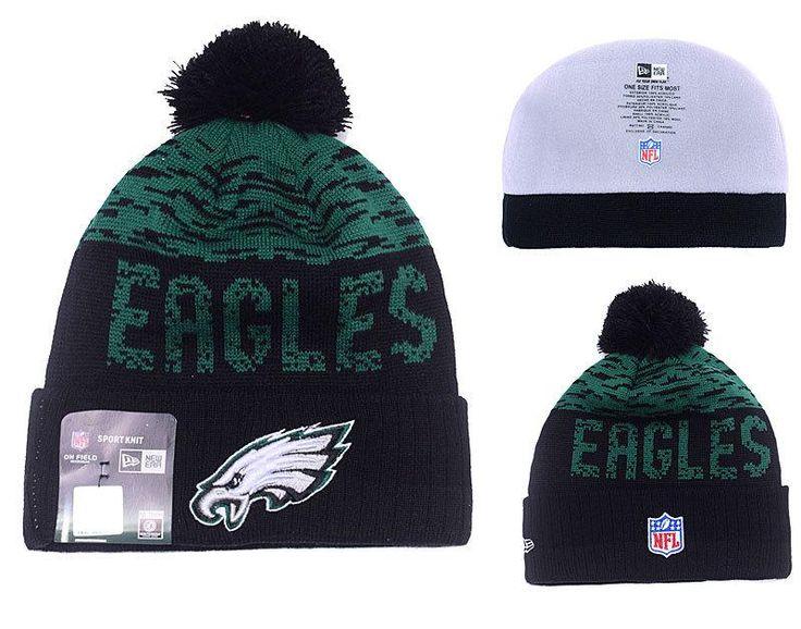 Men's / Women's Philadelphia Eagles New Era NFL 2016 On-Field Sports Knit Pom Pom Beanie Hat - Green / Black
