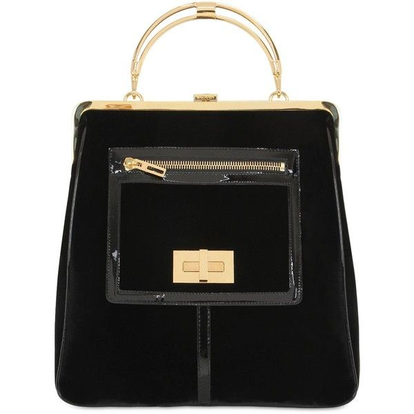 BALMAIN The Day Velvet & Metal Tote Bag found on Polyvore featuring bags, handbags, tote bags, purses, black, black purse, velvet handbag, pocket purse, metal tote and balmain handbags