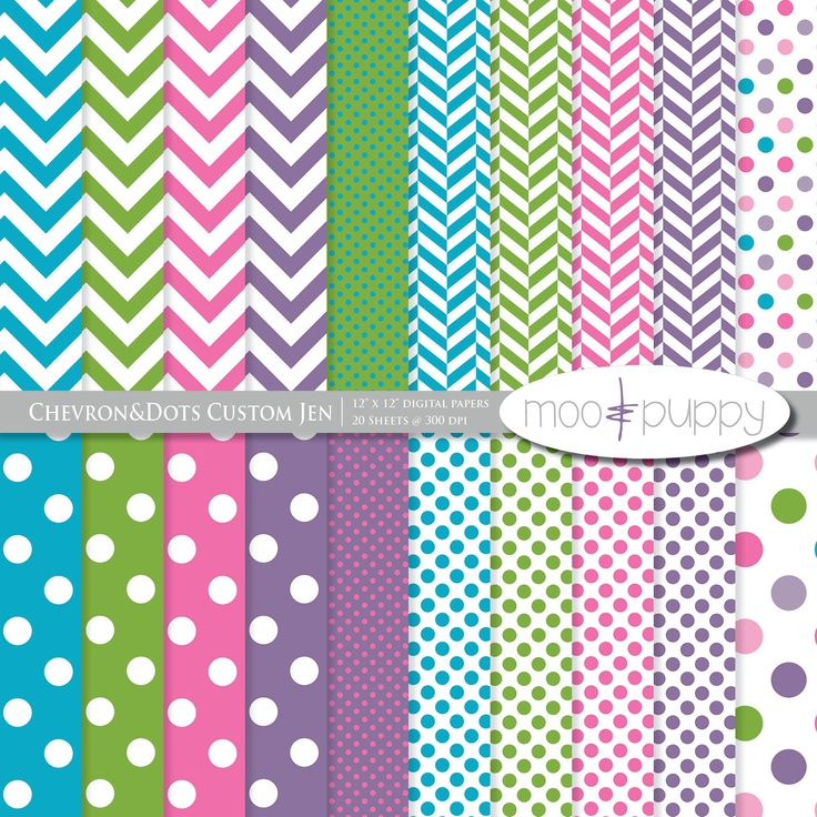 Spring colors chevron and polka dots digital paper by moo and puppy - moo digital