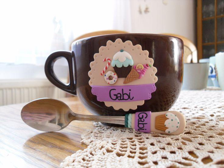 sweets,muffin,ice cream,fimo mug with spoon