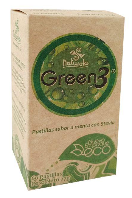 Green3  Es la oportunidad para disfrutar de esta nueva pastilla de chupar con sabor a menta que  refresca y que le deja el aliento como nuevo. | Naturela