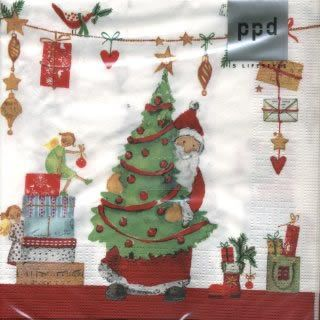Kerstman met kerstboom servet voor kerstmis