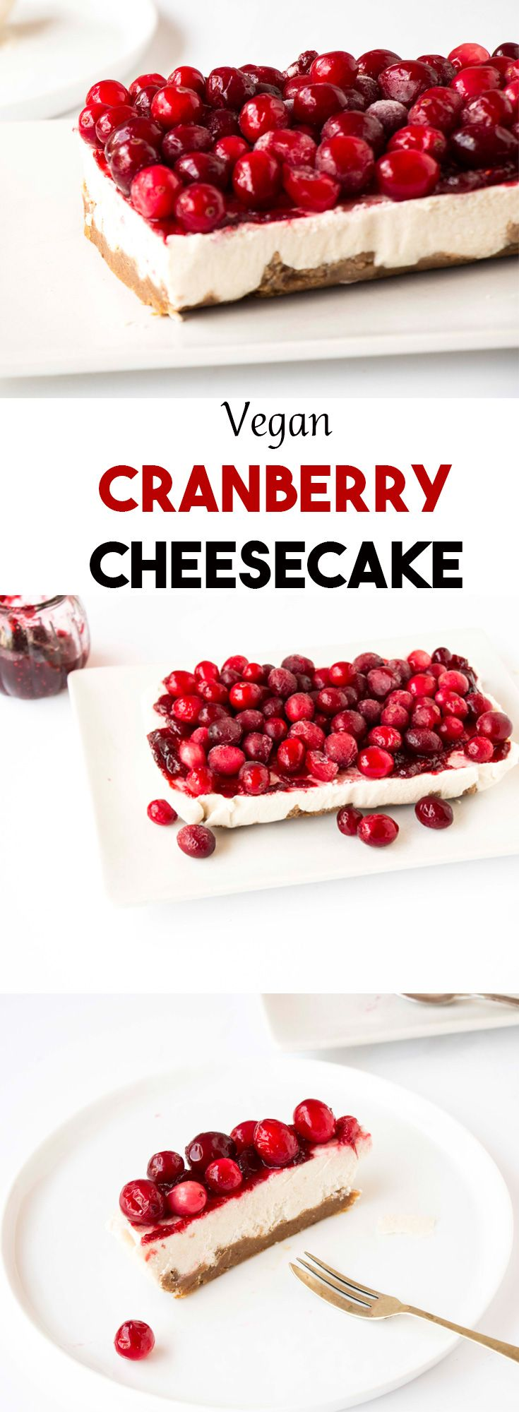 This Vegan Cranberry Cheesecake recipe is one of the most delicious and beautiful cakes I have ever made. It pretty much only requires a blender and a freezer and everyone will love this cake (vegan or not). The perfect addition to your Christmas table.
