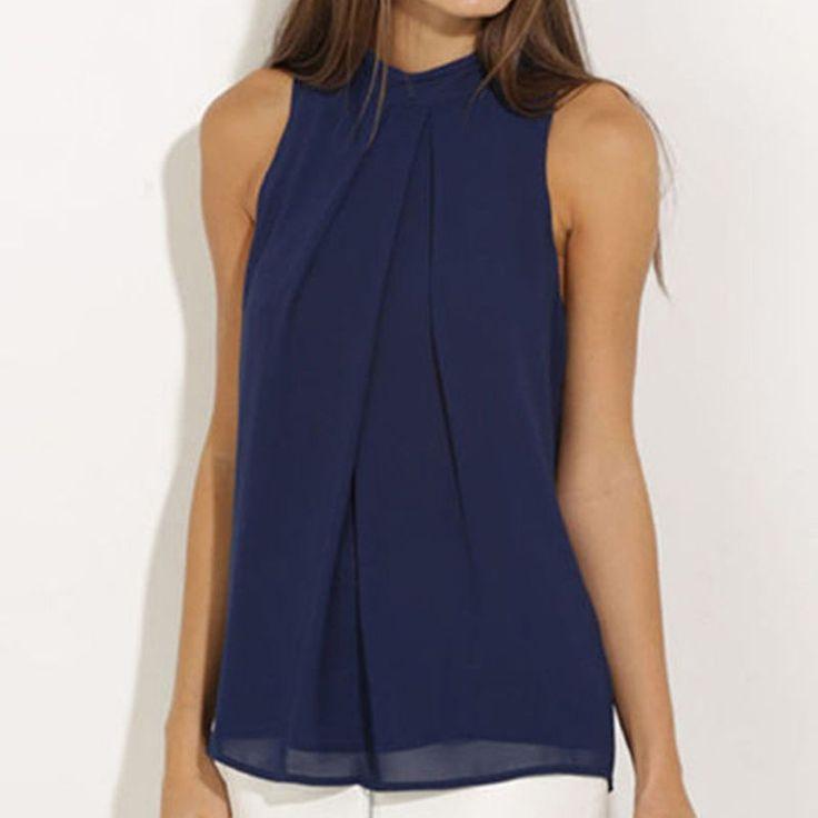Moda para Mujer de Verano de Gasa Sin Mangas Blusa informal Cami Tanque Tops Camiseta
