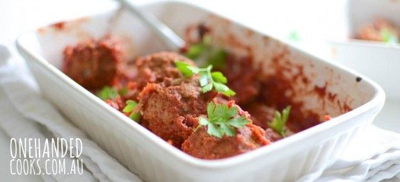NEW RECIPE: Finger food or a family meal these yummy meatballs with simple tomato sauce are an iron-rich favourite. #onehandedcooks