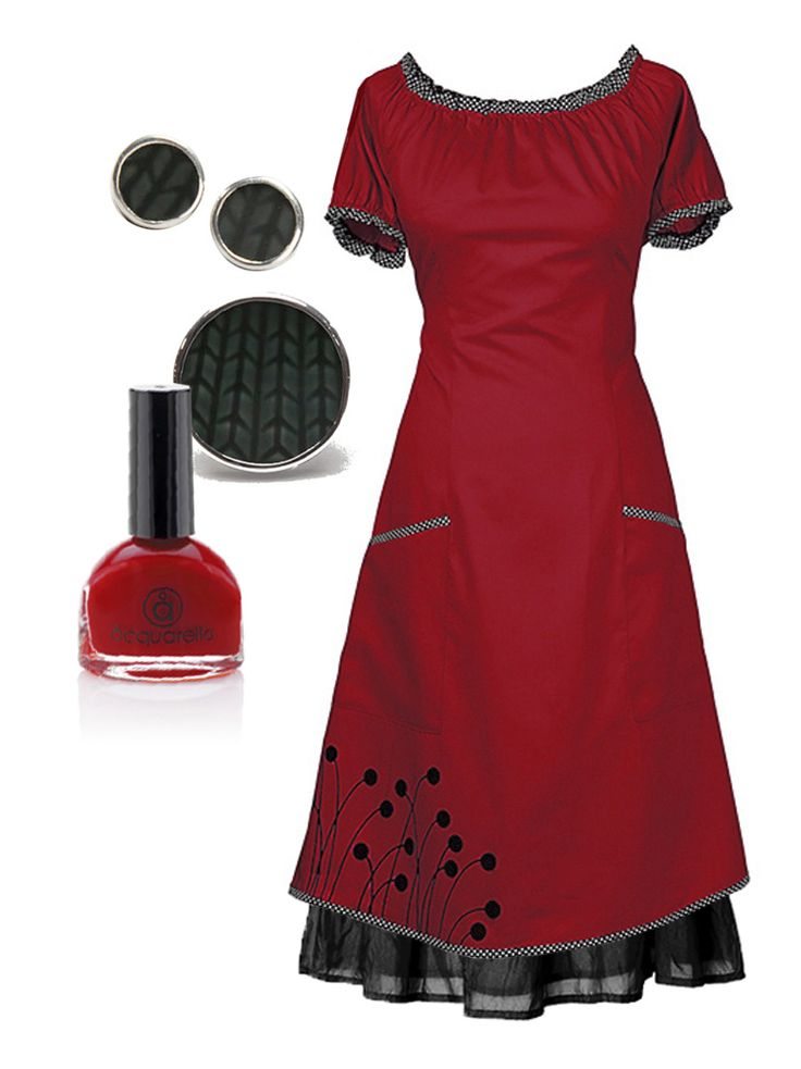 "Outfit of the day - The Red ""Barcelona"" dress and silk skirt.  Matched with the new dot porcelain jewelry & Aquarella water-based nail polish. Go to the webshop..."