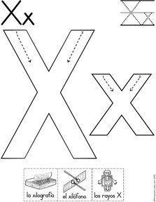 letra x fichas del abecedario y el alfabeto para descargar gratis para imprimir de niños