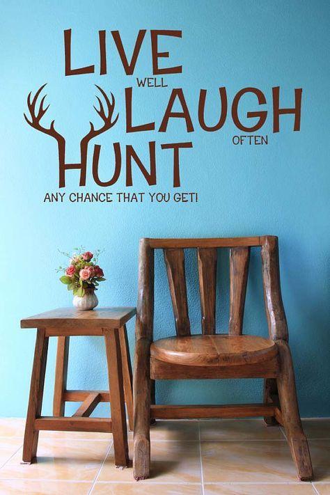 live laugh hunt elk deer antlers hunting decor hunting decal hunt vinyl sticker wall art home bedroom nursery kids decor - Hunting Bedroom Decor