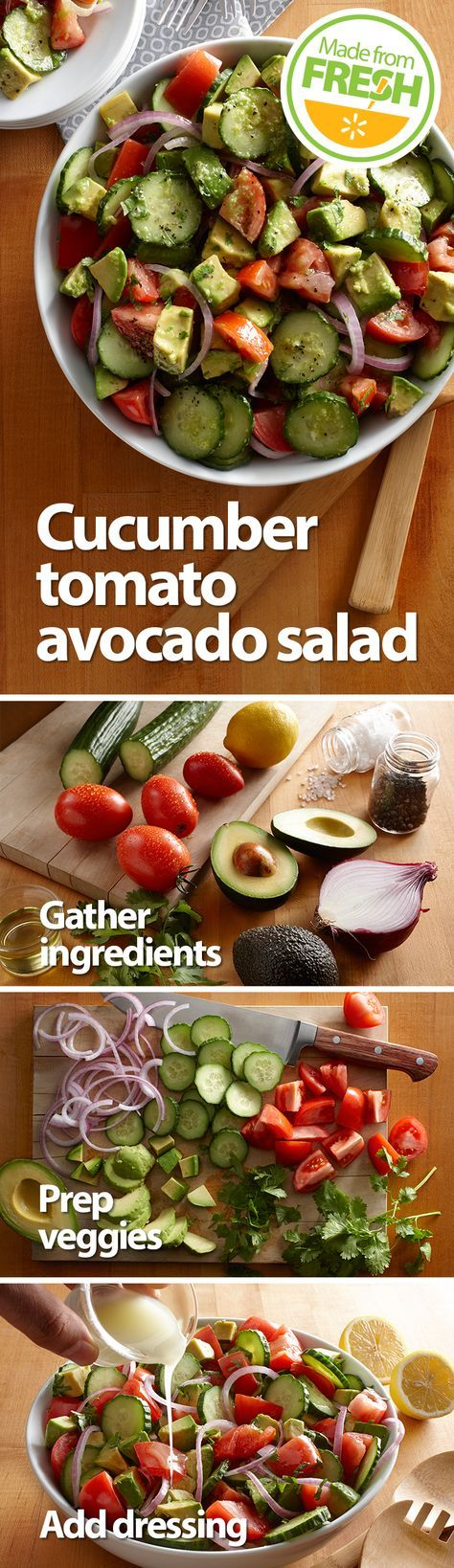 Creamy avocados, crisp cucumbers, and rich Roma tomatoes make this fresh summer salad a mouthwatering side packed with flavor and texture you have to try to believe.