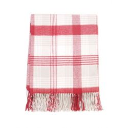 Foxford plaid lambswool ternet rød, lysgrå og hvid
