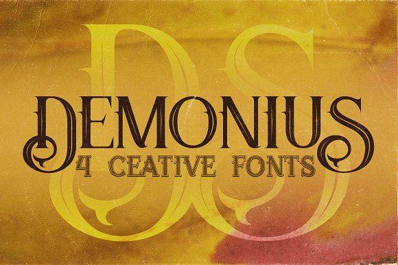 Demonius - 4 Vintage Fonts by JumboDesign on @creativemarket