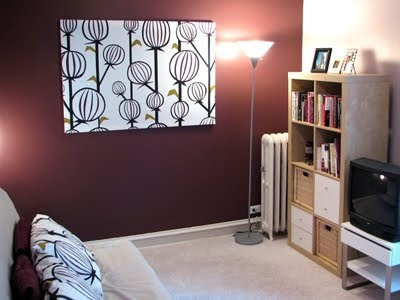 Tutorial on how to make fabric panel wall art -- could be used to dress up unfinished cement walls in basement