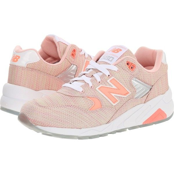 New Balance WRT580 (Coral/Textile) Women's Classic Shoes ($60) ❤ liked on Polyvore featuring shoes, athletic shoes, pink, flexible shoes, new balance, laced shoes, pink athletic shoes and laced up shoes
