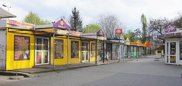 Old fashion shopping by the Central Station, Bielsko-Biala, Poland