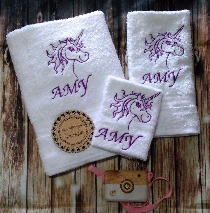 Unicorn, Personalised Towel Set, Girls Unicorn Gift Set #PPBB